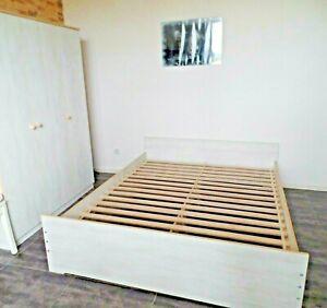 Lit Double Chambre à Coucher 180 x 200 Fonctionnel Cadre Blanc Gris Braun Neuf