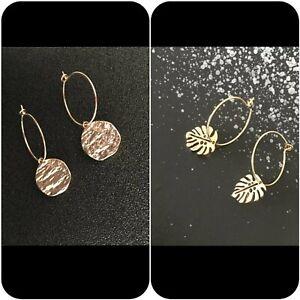 Medium hoops with coin leaves dangle drop earrings
