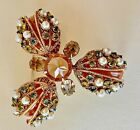 VINTAGE RARE SIGNED SCHREINER NY LARGE BROOCH EX CONDITION INTRICATE DETAIL