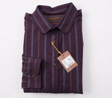 12387837 NWT $410 ETRO Plum Purple Woven Ribbon Stripe Cotton Dress Shirt M (Eu 40)