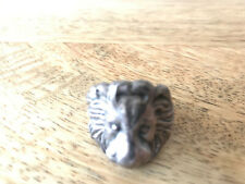 Solid Sterling 925 silver lion ring Made in United Kingdom M-L RRP:£225