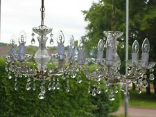 PAIR VINTAGE MARIE THERESE STYLE 5 LIGHT GLASS CRYSTAL CHANDELIERS #R