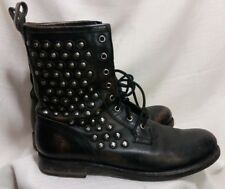 Frye Jenna Disc Lace Up Studded Black Distressed Leather Boots Booties Womens 10