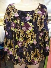 """White Stag Purple  Floral Lacy """"Slinky Knit"""" Long-sleeved Top Size L"""