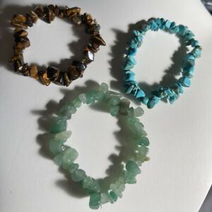 Crystal Gemstone Bracelet Love Reiki Healing Chakra Turquoise Tigers Eye Advent