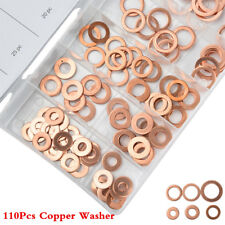 110Pcs Kit 6 Sizes Car Assorted Solid Copper Crush Washers Seal Flat Ring w/ Box
