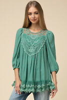 Entro Embroidered Crochet Lace 3/4 Sleeve Tiered Hem Tunic Top Size Small