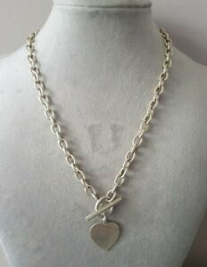 """17"""" Sterling Silver 925 Heart T-Bar Toggle Chain Necklace 31g Solid Heavy"""