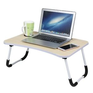 Folding Laptop Bed Tray Table Portable Desk Notebook Desktop Breakfast Cup Slot