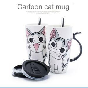Creative Cat Ceramic Mug With Lid Spoon Cartoon Milk Tea Cup Porcelain Mug Set