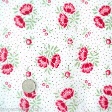 INDIENNE FLORAL - IVORY RED - SHABBY VINTAGE CHIC per m 100% COTTON FABRIC