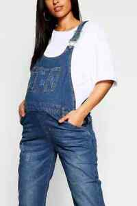 """Boohoo Maternity"" Mid Blue Wash Denim Dungaree Overalls, Size 18, BNWT"