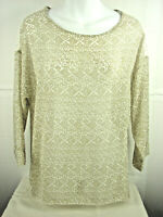 Chicos Blouse Sz 0 ( 40in Bust ) Lace Shoulders & Back  3/4 Sleeve  Top