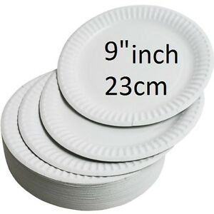 """NEW WHITE ROUND DISPOSABLE PAPER PARTY PLATES SMALL LARGE 23CM 9"""" FREE POSTAGE"""