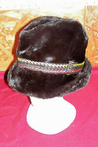 Vintage USA Size Large Alpine Hunting Hat Cap Black Fur Bird Fox Rabbit Game Old