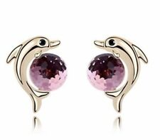 Crystal Dolphin Stud Earrings Gold  Tone Light Rose Pink