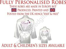 Personalised Wedding Robe Dressing Gown Flower Satin Bridal Children's sizes