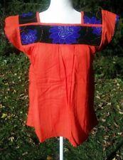 Maya Mexican Blouse Top Shirt with Huipil Fabric Chiapas Orange S/M H32