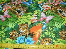 Fabri Quilt Fabric In The Tropics Mother Leopard Tropical Jungle Flowers BTY