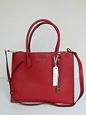 NEW Michael Kors Mercer Burnt Red Leather Large Convertible Tote $298.00
