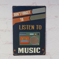 Listen Music Vintage Metal Tin Signs Bar Pub Wall Decor Retro Art Poster Plaque