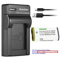 Kastar Battery Slim Charger for OEM Kodak KLIC8000 Genuine Kodak K8500-C K7600-C