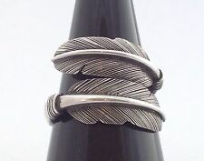 Men's Women's 925 Sterling Silver Feather Wrap Jewelry Ring Free Size US 9 10 11