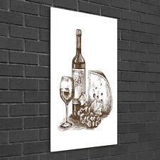 Wandbild Kunst-Druck auf Hart-Glas hochkant 50x100 Wein und Snacks