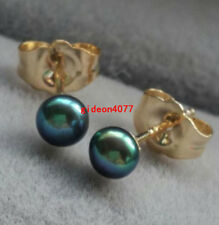 Wholesale AAAA natural small pearl 3-4mm black green Tahitian pearl earring 14K