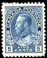 Canada #111 mint VF OG HR 1914 King George V 5c dark blue Admiral CV$300.00