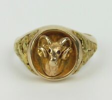 Vintage 10K Gold Rams Head Ring with 22K Nuggets - Signed JMC