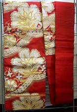 Abito Formale Seta Broccato giapponese NAGOYA OBI-GOLDEN fiori sul rosso OB512