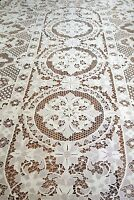 Hand Made Vintage collectable Tatted  Delicate OVAL Table cloth Lace Floral*1019