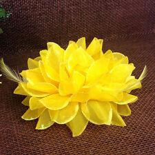 Women Beach Orchid Bridal Wedding Flower Hair Clip Brooch Barrette Headpiece HK