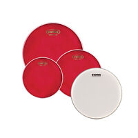 """Evans Hydraulic Red Fusion Pack (10"""", 12"""", 14"""") With 14"""" UV1 Coated Snare Batter"""