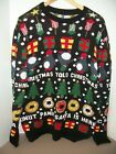 """Adult Divided H & M """"Donut"""" Panic Santa is Here Ugly Christmas Sweater~Size MED"""