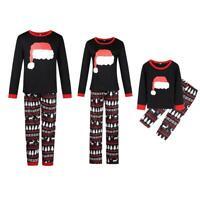 Christmas Family Matching Black Pajamas Set Adult Kids Girls Sleepwear Nightwear