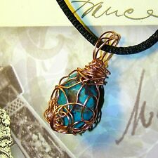 EXQUISITE HAND CRAFTED COPPER WIRE WRAPPED TURQUOISE PENDANT 1-1/4 INCHES