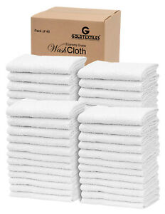 GOLD TEXTILES Wash Cloths Cotton Blend (12x12 Inches) Commercial Grade Rags
