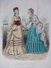 GRAVURE MODE 19e - MODE ILLUSTREE - TOILETTES BREANT 1872  - GRAND FORMAT