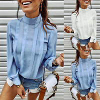 Women High Neck Shirt Office Ladies Long Sleeve Work OL Casual Blouse