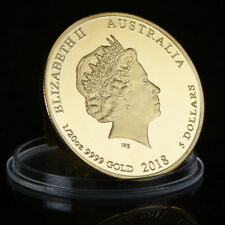 1pc 2018 Year Of The Dog Gold Commemorative Coin Australia Queen Elizabeth $5
