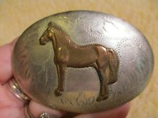 Beautiful OLD and Worn IRVINE JACHENS Standing Horse Silver Belt Buckle