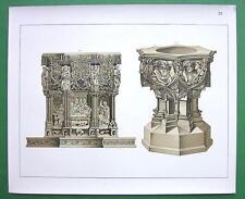 BAPTISMAL FONTS Germany - Tinted Litho Antique Print SCARCE