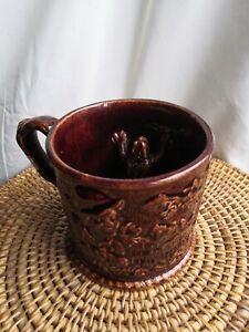 Antique Victorian Staffordshire Pottery Frog Mug Treacle Glaze Rockingham?