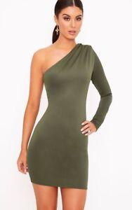 BNWT PRETTY LITTLE THING PLT KHAKI GREEN ONE SHOULDER RUCHED BODYCON DRESS UK 10
