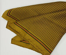 Bronzini silk pocket square golden brown with black red all silk hand stitched
