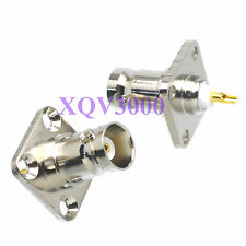 2pcs Connector BNC female jack pin 4-holes flange solder cup Panel Mount COAXIAL
