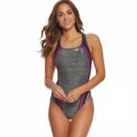 Speedo Women's Heather Quantum Splice Very Fuchisa One Piece Swimsuit Size 14