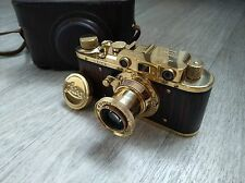 Leica II German Film Camera gold f3.5/50mm with leather case (copy by fed)